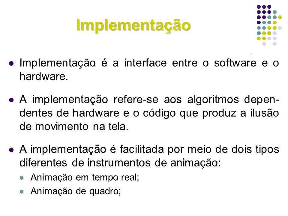 Implementação Implementação é a interface entre o software e o hardware. A implementação refere-se aos algoritmos depen- dentes de hardware e o código