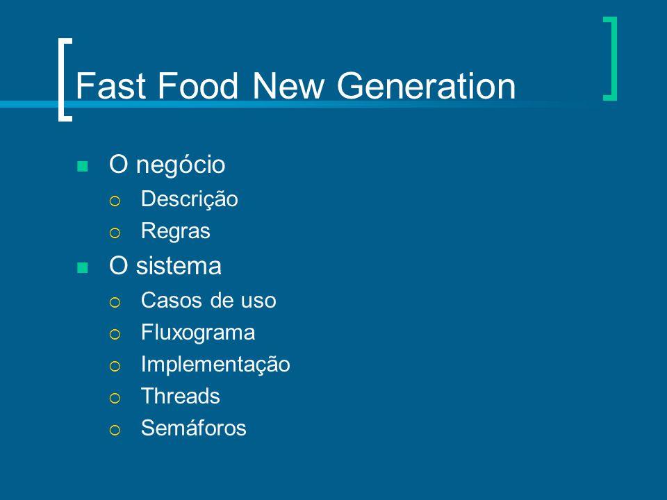 Fast Food New Generation O negócio Descrição Regras O sistema Casos de uso Fluxograma Implementação Threads Semáforos