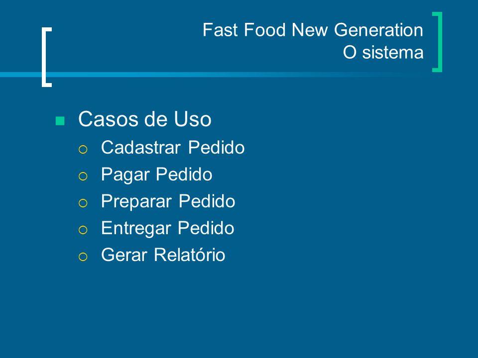 Fast Food New Generation O sistema Implementação Comunicação cliente/servidor O servidor controla os arquivos, estoque e filas O cliente aciona o servidor para acessar os recursos do sistema
