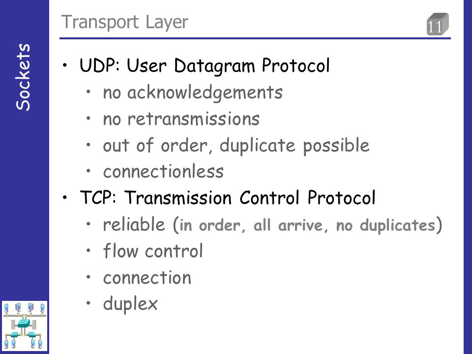 11 Transport Layer Sockets UDP: User Datagram Protocol no acknowledgements no retransmissions out of order, duplicate possible connectionless TCP: Transmission Control Protocol reliable ( in order, all arrive, no duplicates ) flow control connection duplex