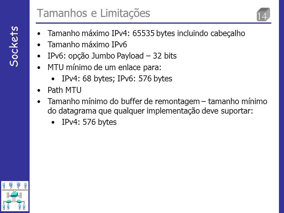 14 Tamanhos e Limitações Sockets Tamanho máximo IPv4: 65535 bytes incluindo cabeçalho Tamanho máximo IPv6 IPv6: opção Jumbo Payload – 32 bits MTU mínimo de um enlace para: IPv4: 68 bytes; IPv6: 576 bytes Path MTU Tamanho mínimo do buffer de remontagem – tamanho mínimo do datagrama que qualquer implementação deve suportar: IPv4: 576 bytes
