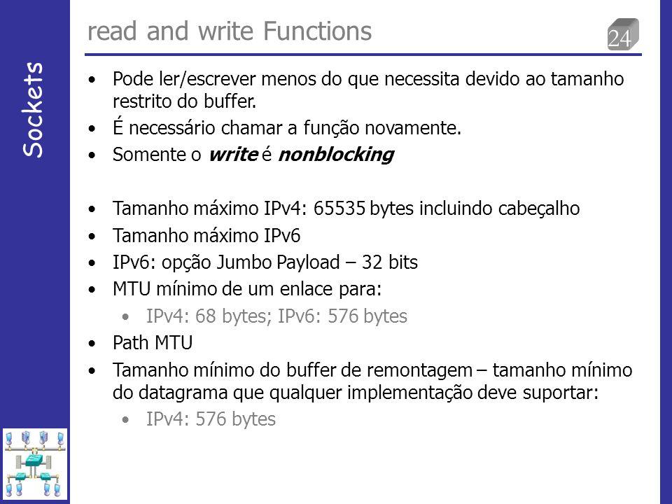 24 read and write Functions Sockets Pode ler/escrever menos do que necessita devido ao tamanho restrito do buffer.