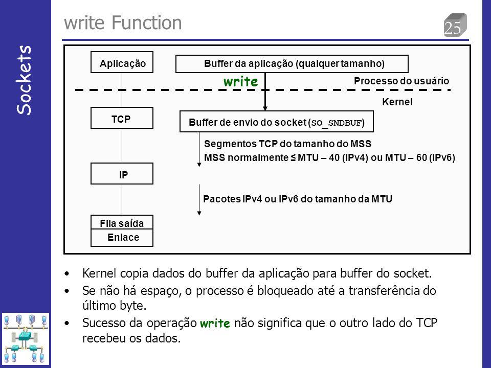 25 write Function Sockets Aplicação TCP IP Fila saída Enlace Buffer da aplicação (qualquer tamanho) write Buffer de envio do socket ( SO_SNDBUF ) Processo do usuário Kernel Segmentos TCP do tamanho do MSS MSS normalmente MTU – 40 (IPv4) ou MTU – 60 (IPv6) Pacotes IPv4 ou IPv6 do tamanho da MTU Kernel copia dados do buffer da aplicação para buffer do socket.