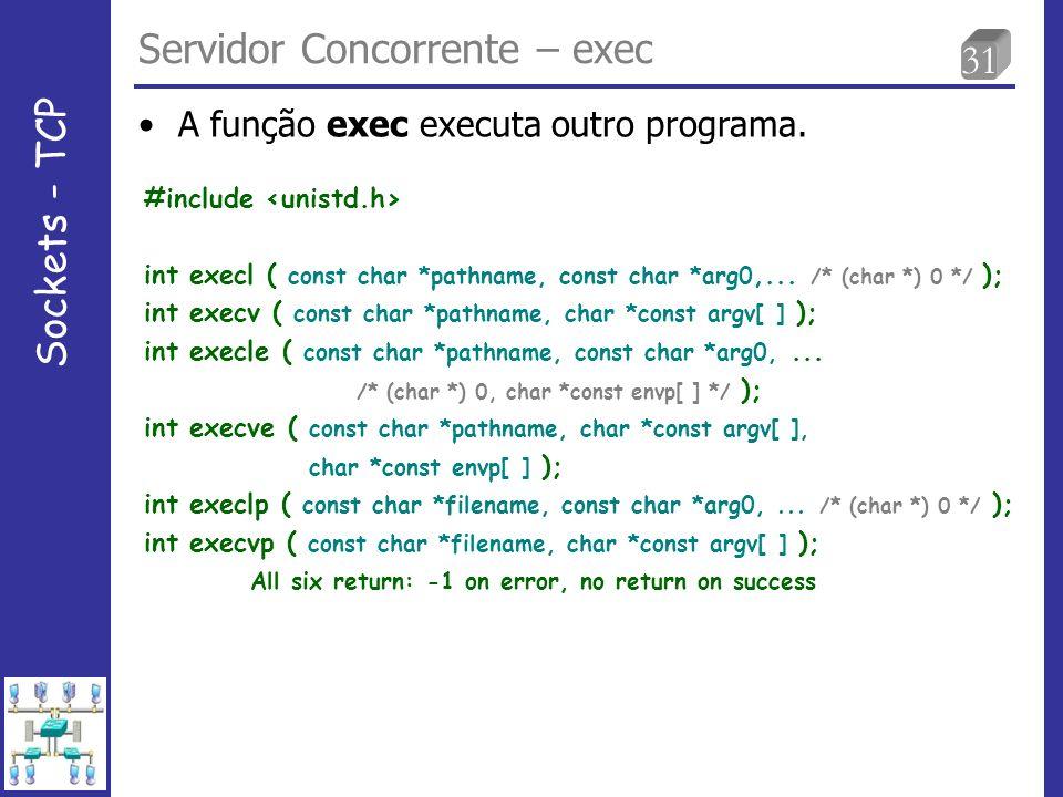 31 Servidor Concorrente – exec Sockets - TCP A função exec executa outro programa.