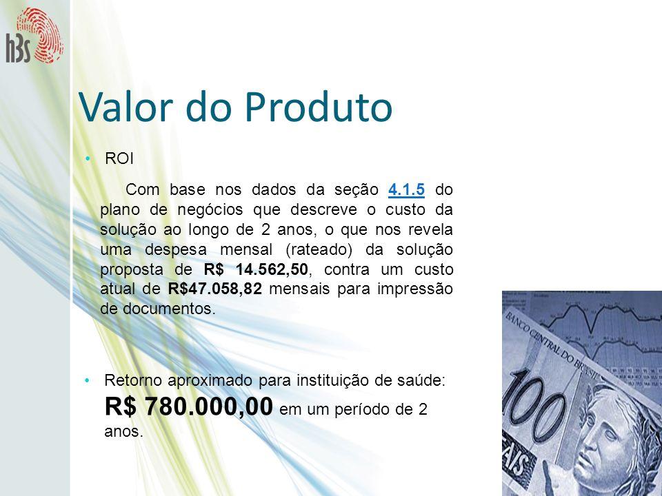 ROI Valor do Produto Com base nos dados da seção 4.1.5 do plano de negócios que descreve o custo da solução ao longo de 2 anos, o que nos revela uma d