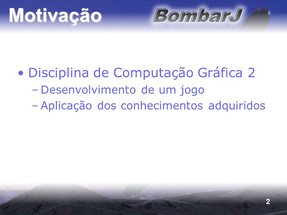 2 Motivação Disciplina de Computação Gráfica 2 –Desenvolvimento de um jogo –Aplicação dos conhecimentos adquiridos