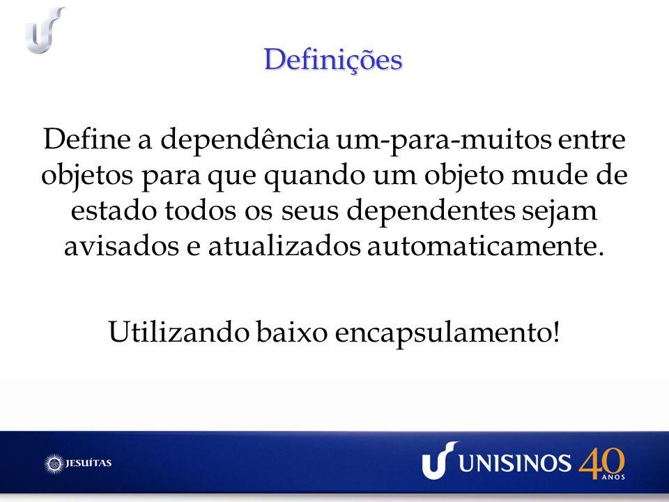 Definições Define a dependência um-para-muitos entre objetos para que quando um objeto mude de estado todos os seus dependentes sejam avisados e atual