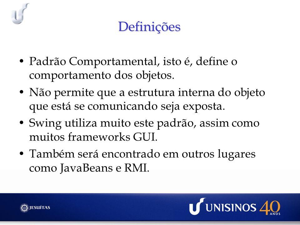 Definições Padrão Comportamental, isto é, define o comportamento dos objetos. Não permite que a estrutura interna do objeto que está se comunicando se
