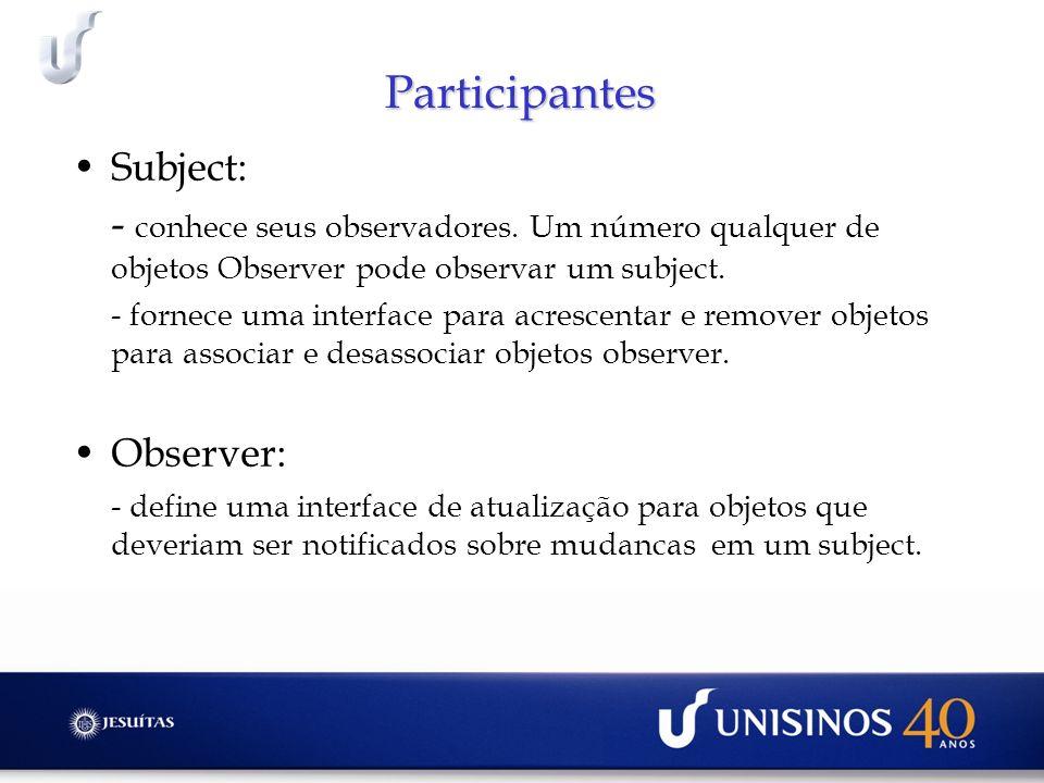 Participantes Subject: - conhece seus observadores. Um número qualquer de objetos Observer pode observar um subject. - fornece uma interface para acre