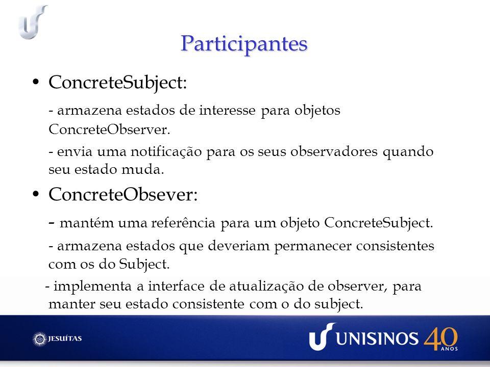 Participantes ConcreteSubject: - armazena estados de interesse para objetos ConcreteObserver. - envia uma notificação para os seus observadores quando