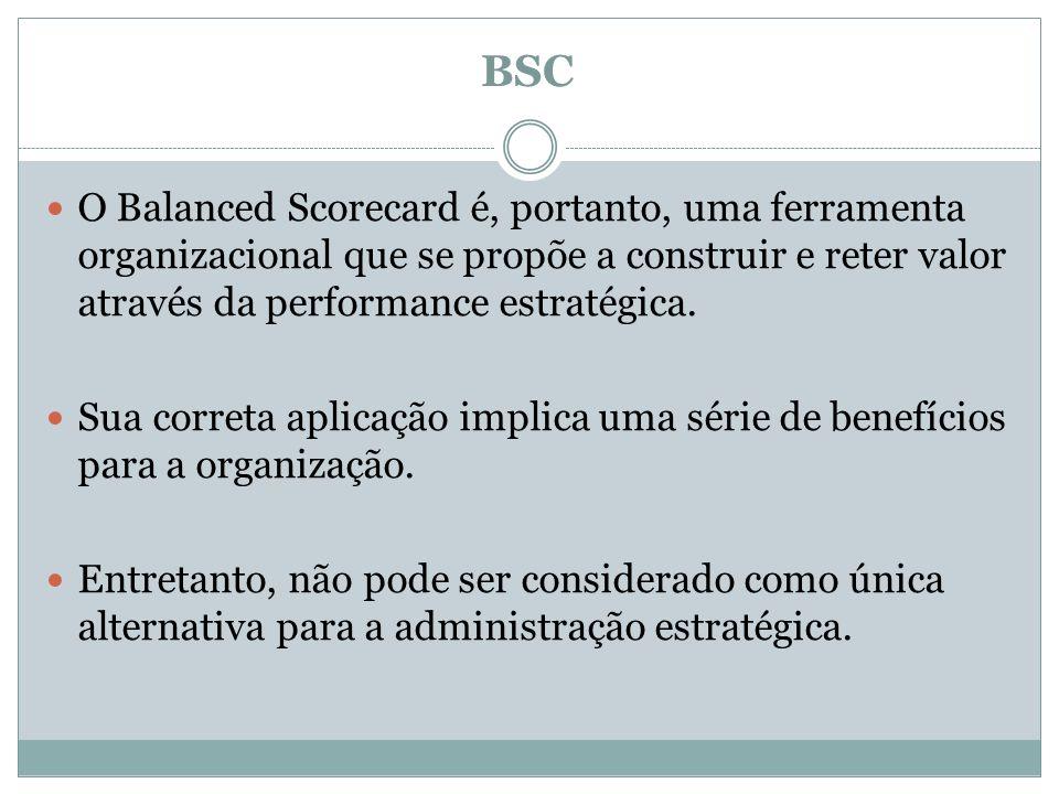 BSC O Balanced Scorecard é, portanto, uma ferramenta organizacional que se propõe a construir e reter valor através da performance estratégica. Sua co