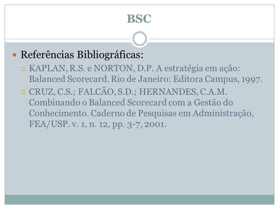 BSC Referências Bibliográficas: KAPLAN, R.S. e NORTON, D.P. A estratégia em ação: Balanced Scorecard. Rio de Janeiro: Editora Campus, 1997. CRUZ, C.S.