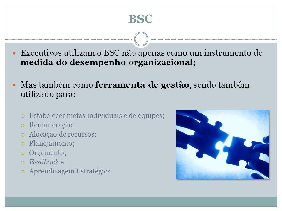 BSC Executivos utilizam o BSC não apenas como um instrumento de medida do desempenho organizacional; Mas também como ferramenta de gestão, sendo també