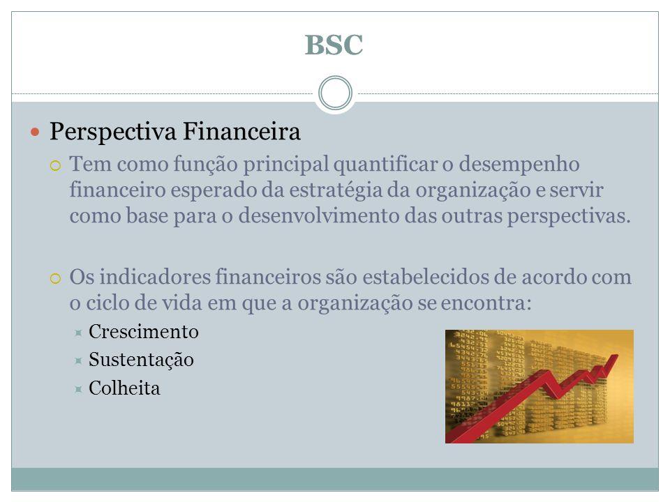 Perspectiva Financeira Tem como função principal quantificar o desempenho financeiro esperado da estratégia da organização e servir como base para o d