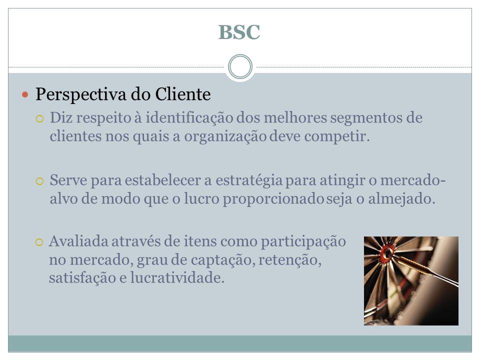 Perspectiva do Cliente Diz respeito à identificação dos melhores segmentos de clientes nos quais a organização deve competir. Serve para estabelecer a