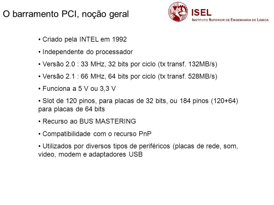 O barramento PCI, noção geral – cont.