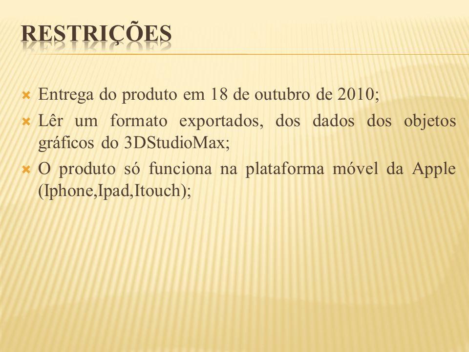 Entrega do produto em 18 de outubro de 2010; Lêr um formato exportados, dos dados dos objetos gráficos do 3DStudioMax; O produto só funciona na plataf