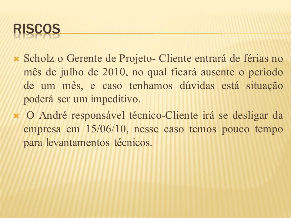 Scholz o Gerente de Projeto- Cliente entrará de férias no mês de julho de 2010, no qual ficará ausente o período de um mês, e caso tenhamos dúvidas es