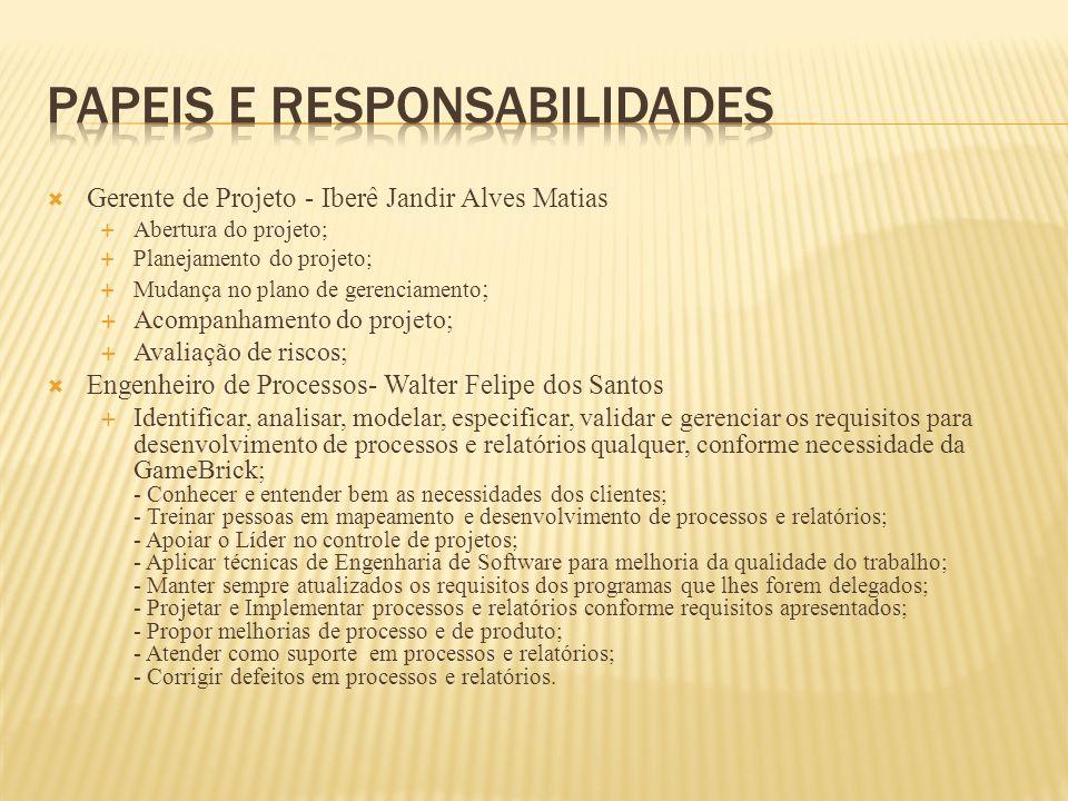 Gerente de Projeto - Iberê Jandir Alves Matias Abertura do projeto; Planejamento do projeto; Mudança no plano de gerenciamento ; Acompanhamento do pro