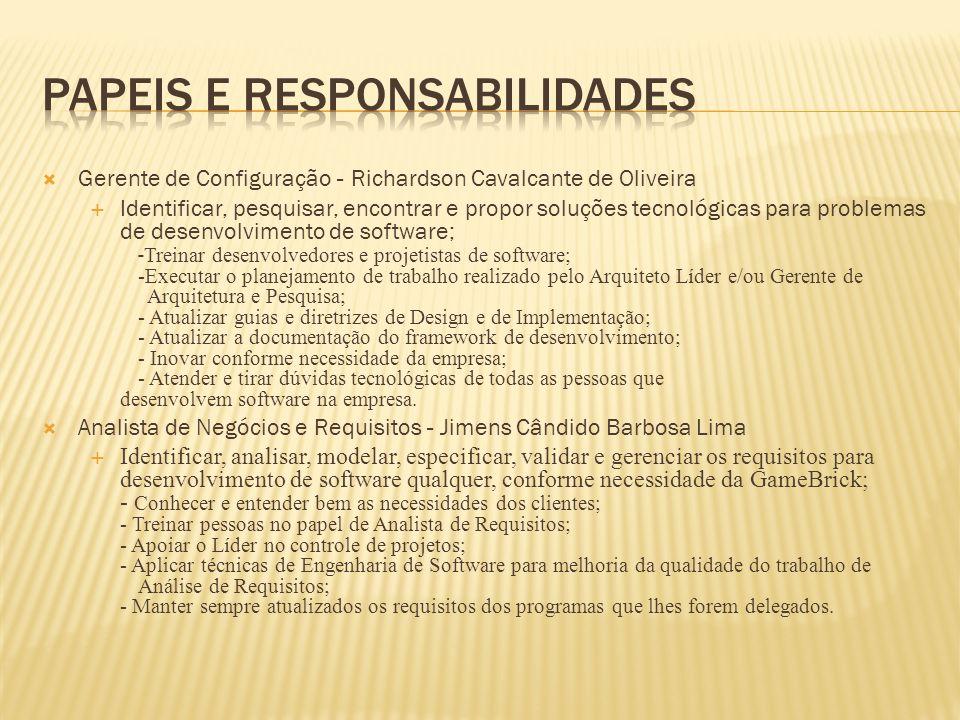 Gerente de Configuração - Richardson Cavalcante de Oliveira Identificar, pesquisar, encontrar e propor soluções tecnológicas para problemas de desenvo