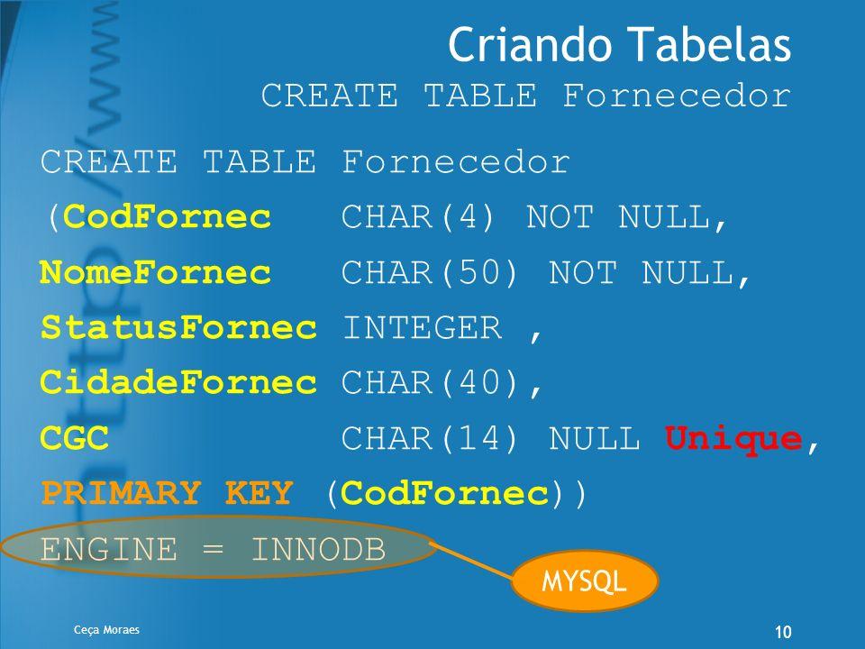 Ceça Moraes 10 Criando Tabelas CREATE TABLE Fornecedor CREATE TABLE Fornecedor (CodFornec CHAR(4) NOT NULL, NomeFornec CHAR(50) NOT NULL, StatusFornec