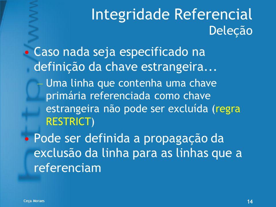 Ceça Moraes 14 Integridade Referencial Deleção Caso nada seja especificado na definição da chave estrangeira... – Uma linha que contenha uma chave pri