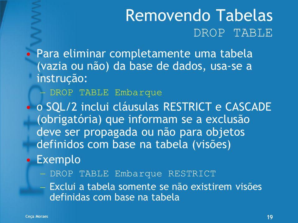 Ceça Moraes 19 Removendo Tabelas DROP TABLE Para eliminar completamente uma tabela (vazia ou não) da base de dados, usa-se a instrução: – DROP TABLE E