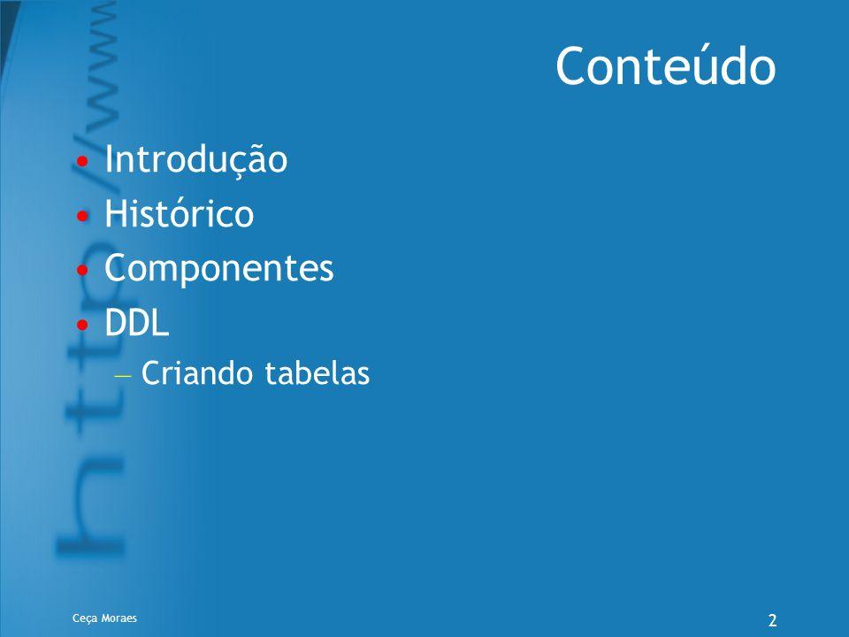 Ceça Moraes 33 Exercício 6.Criação da tabela Embarque (CONSTRAINT): CREATE TABLE Embarque (CodFornec CHAR(4) not null, CodPeca CHAR(4) not null, Quant INTEGER not null, DataEmbarq DATE, CONSTRAINT PK_EMBARQ PRIMARY KEY (CodFornec,CodPeca))