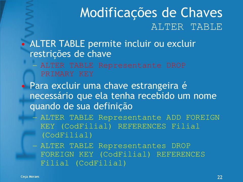 Ceça Moraes 22 Modificações de Chaves ALTER TABLE ALTER TABLE permite incluir ou excluir restrições de chave – ALTER TABLE Representante DROP PRIMARY