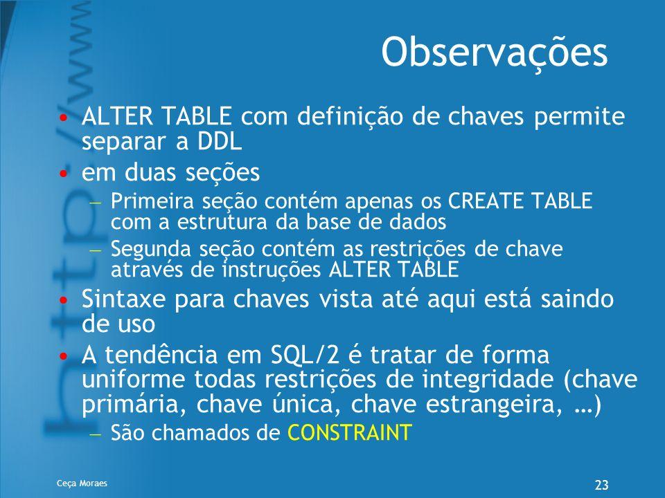 Ceça Moraes 23 Observações ALTER TABLE com definição de chaves permite separar a DDL em duas seções – Primeira seção contém apenas os CREATE TABLE com