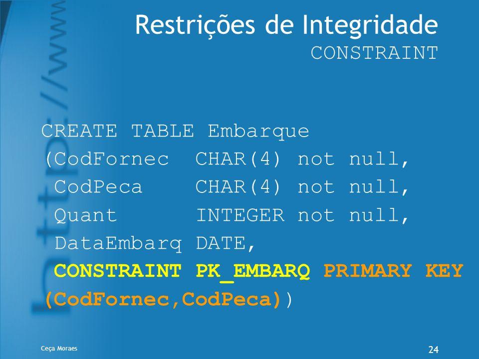 Ceça Moraes 24 Restrições de Integridade CONSTRAINT CREATE TABLE Embarque (CodFornec CHAR(4) not null, CodPeca CHAR(4) not null, Quant INTEGER not nul