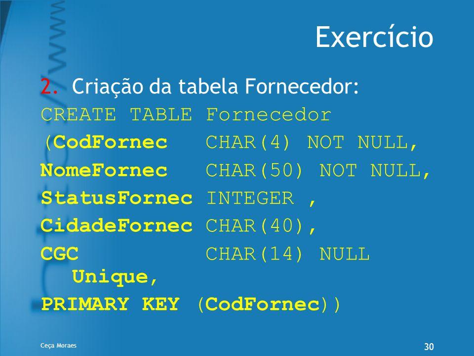 Ceça Moraes 30 Exercício 2.Criação da tabela Fornecedor: CREATE TABLE Fornecedor (CodFornec CHAR(4) NOT NULL, NomeFornec CHAR(50) NOT NULL, StatusForn