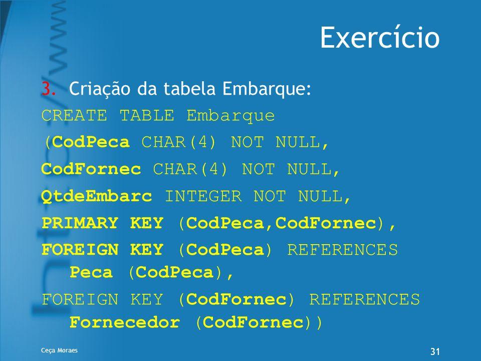 Ceça Moraes 31 Exercício 3.Criação da tabela Embarque: CREATE TABLE Embarque (CodPeca CHAR(4) NOT NULL, CodFornec CHAR(4) NOT NULL, QtdeEmbarc INTEGER