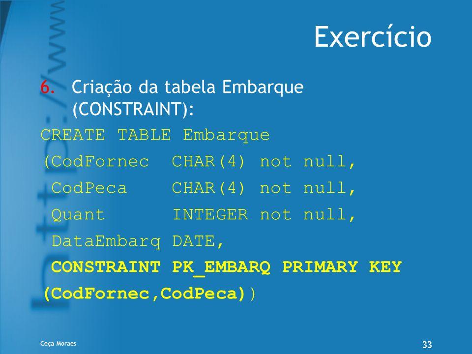 Ceça Moraes 33 Exercício 6.Criação da tabela Embarque (CONSTRAINT): CREATE TABLE Embarque (CodFornec CHAR(4) not null, CodPeca CHAR(4) not null, Quant