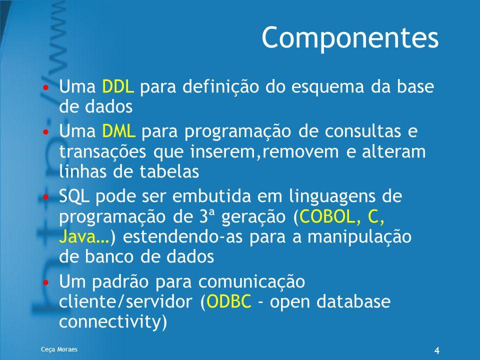 Ceça Moraes 5 DDL – Definição de Estrutura SQL oferece três instruções para definição do esquema do banco de dados: Create Table – Define a estrutura de uma tabela, suas restrições de integridade e cria a tabela vazia (sem linhas) Drop Table – elimina a tabela da base de dados Alter Table – permite modificar a definição de uma tabela