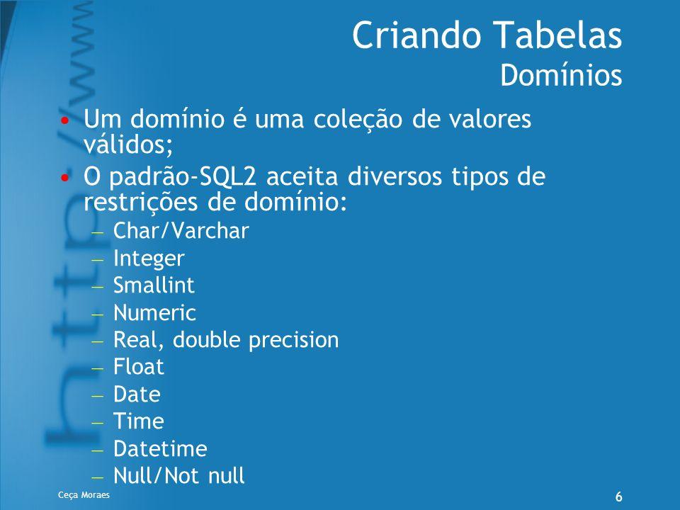 Ceça Moraes 6 Criando Tabelas Domínios Um domínio é uma coleção de valores válidos; O padrão-SQL2 aceita diversos tipos de restrições de domínio: – Ch
