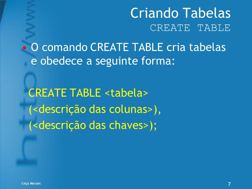 Ceça Moraes 7 Criando Tabelas CREATE TABLE O comando CREATE TABLE cria tabelas e obedece a seguinte forma: CREATE TABLE ( ), ( );
