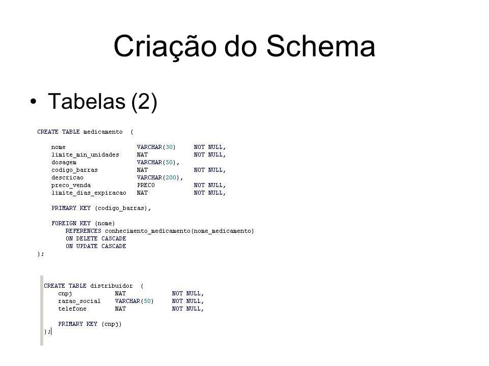 Criação do Schema Tabelas (3)