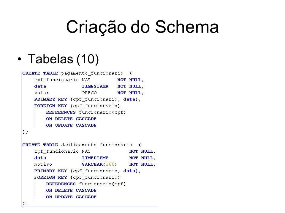 Criação do Schema Tabelas (10)