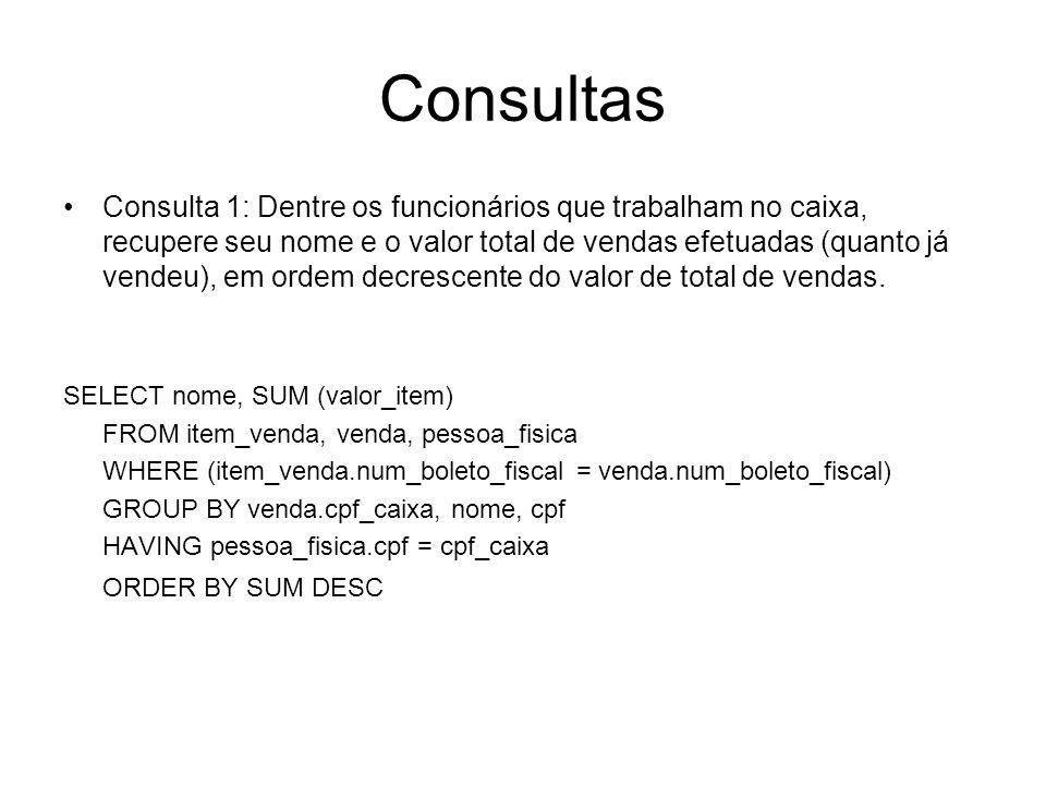 Consultas Consulta 1: Dentre os funcionários que trabalham no caixa, recupere seu nome e o valor total de vendas efetuadas (quanto já vendeu), em orde