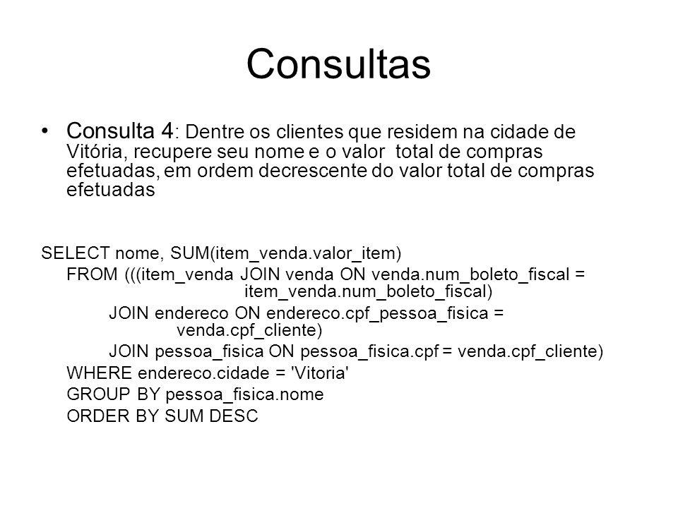 Consultas Consulta 4 : Dentre os clientes que residem na cidade de Vitória, recupere seu nome e o valor total de compras efetuadas, em ordem decrescen