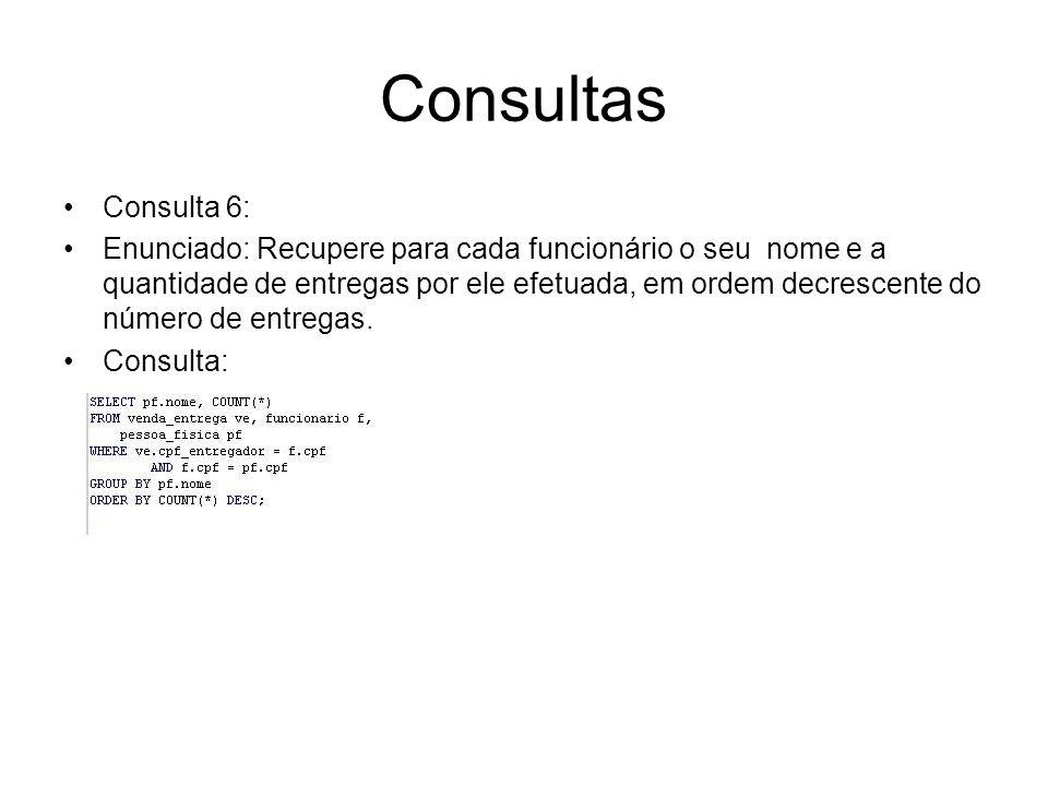 Consultas Consulta 6: Resultado da Consulta Tabela venda_entrega Tabela funcionario Tabela pessoa_fisica