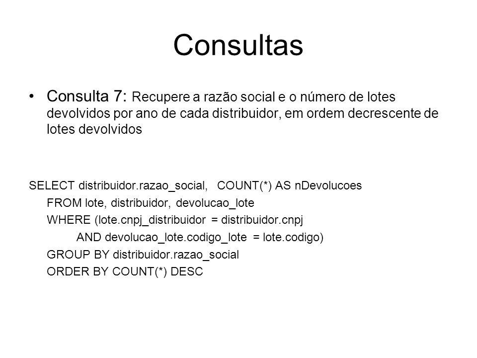 Consultas Consulta 7: Recupere a razão social e o número de lotes devolvidos por ano de cada distribuidor, em ordem decrescente de lotes devolvidos SE