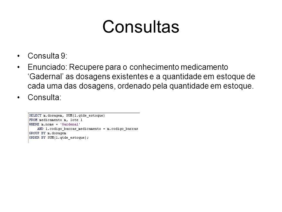 Consultas Consulta 9: Enunciado: Recupere para o conhecimento medicamento Gadernal as dosagens existentes e a quantidade em estoque de cada uma das do