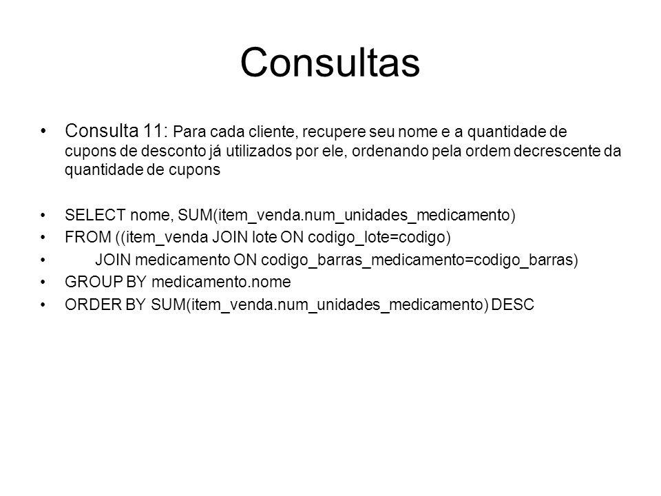 Consultas Consulta 11: Para cada cliente, recupere seu nome e a quantidade de cupons de desconto já utilizados por ele, ordenando pela ordem decrescen