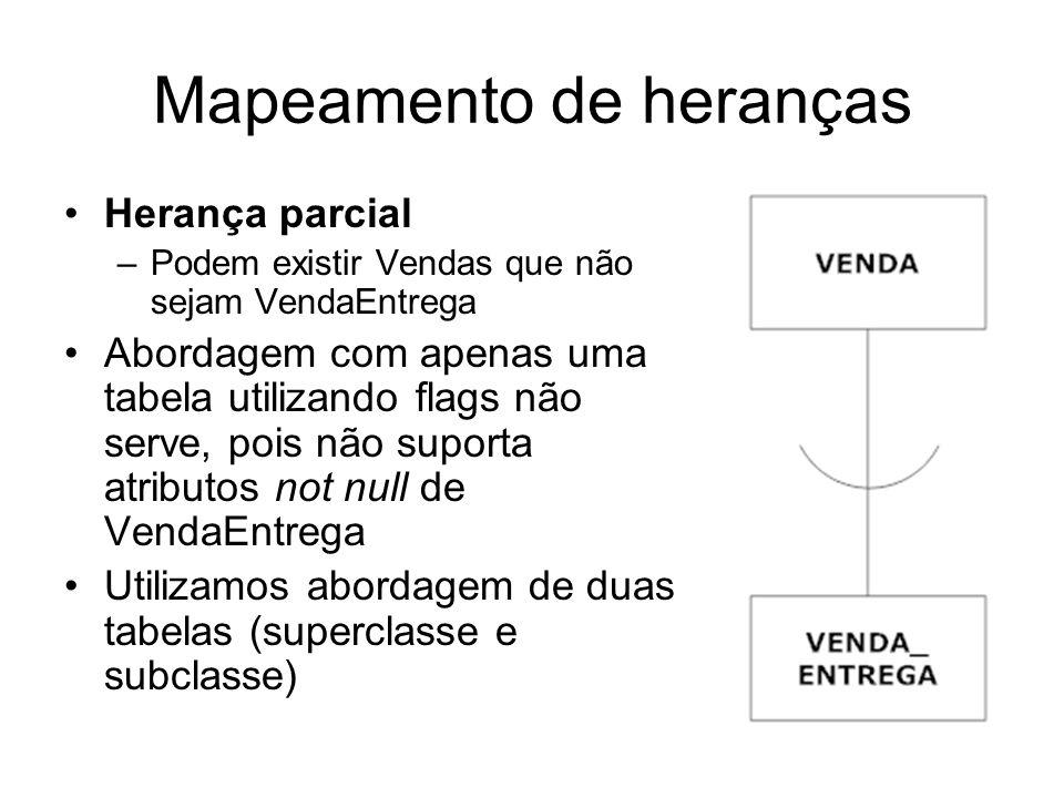 Mapeamento de heranças Herança parcial –Podem existir Vendas que não sejam VendaEntrega Abordagem com apenas uma tabela utilizando flags não serve, po