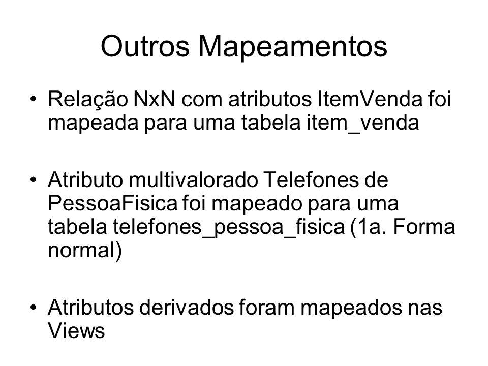 Outros Mapeamentos Relação NxN com atributos ItemVenda foi mapeada para uma tabela item_venda Atributo multivalorado Telefones de PessoaFisica foi map