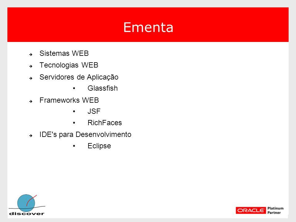 Ementa Sistemas WEB Sistemas WEB Tecnologias WEB Tecnologias WEB Servidores de Aplicação Servidores de Aplicação Glassfish Glassfish Frameworks WEB Fr