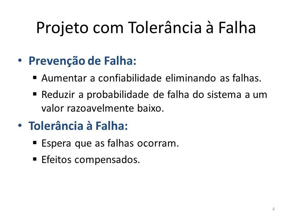 Projeto com Tolerância à Falha Prevenção de Falha: Aumentar a confiabilidade eliminando as falhas. Reduzir a probabilidade de falha do sistema a um va