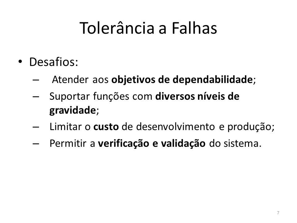 Tolerância a Falhas Desafios: – Atender aos objetivos de dependabilidade; – Suportar funções com diversos níveis de gravidade; – Limitar o custo de de